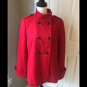 🆕 🍁 🍂 Banana Republic Red Wool Blend Pea Coat